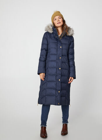 Anne Klein - Long Hooded Quilt Coat, Blue,  coat, quilted. down, hood, faux fur, long sleeves, winter 2019