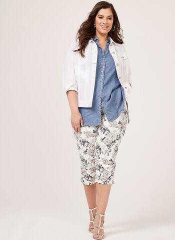 Denim Style Linen Jacket, White, hi-res