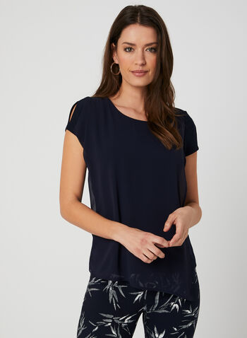 Layered Split Sleeve Top, Blue, hi-res