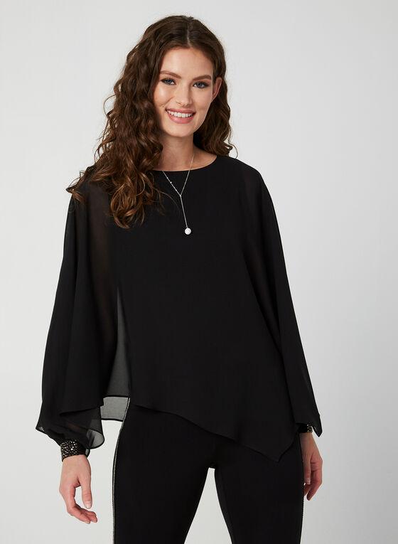 Capelet-Style Chiffon Blouse, Black