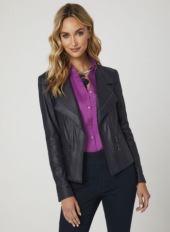 Vex - Faux Suede Open Front Jacket  , Blue, hi-res