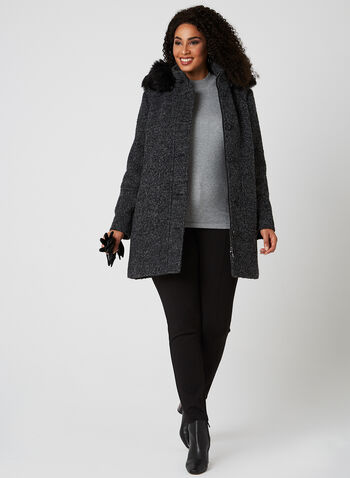 Bouclé Wool Coat, Grey, hi-res