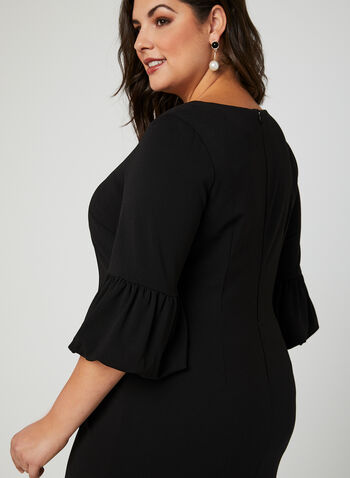 Balloon Sleeve Crepe Dress, Black, hi-res