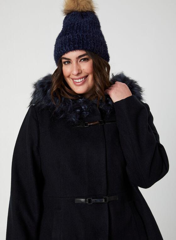 Manteau à col en fausse fourrure, Bleu