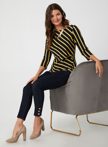 Stripe Print Top, Blue,  Canada, top, 3/4 sleeves, stripe print, pleats, fall 2019, winter 2019