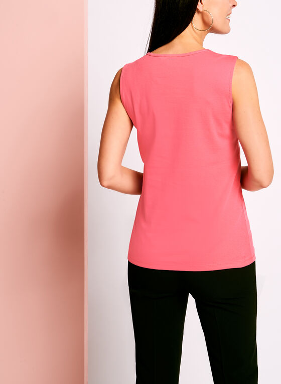 Sleeveless Henley Camisole, Pink, hi-res