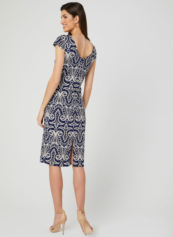 Textured Print Jersey Dress, Blue