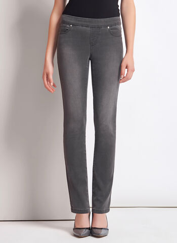Pull-On Slim Leg Ankle Jeans, Grey, hi-res