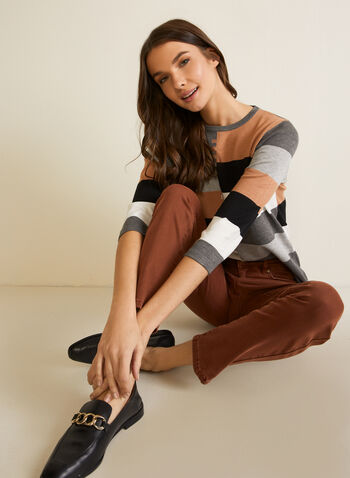 Colour Block Sweater, Grey,  fall winter 2020, sweater, knit, top, colour blocks, round neck, 3/4 sleeves, ¾ sleeves