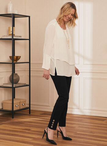 Double Layer Blouse, Off White,  blouse, lightweight, long sleeves, double layer, slits, spring top, spring 2020, summer 2020