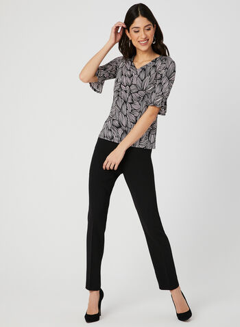 Textured Floral Print Top, Black, hi-res