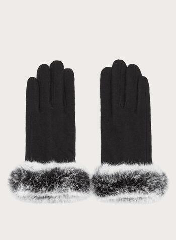 Gants en laine avec fourrure, Noir, hi-res