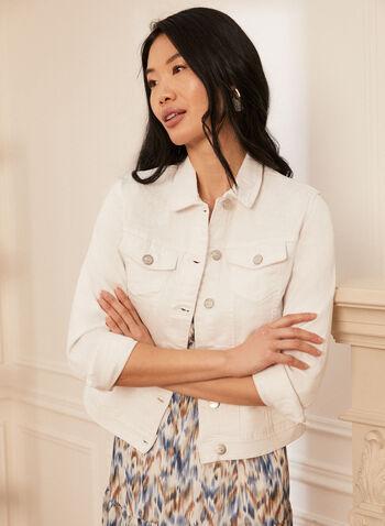 Veste en denim à broderies, Blanc,  veste, jacket, jeans, denim, broderies, floral, florales, blossom, printemps été 2021