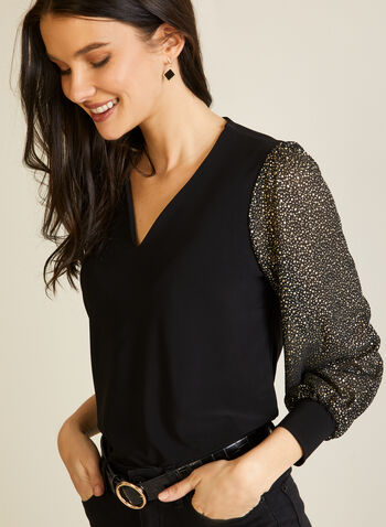 Blouse With Shimmer Sleeves, Black,  fall winter 2020, V neck, shiny, lurex, long sleeves, puffed sleeves, made in Canada