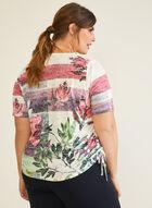Floral & Stripe Print Tee, Purple