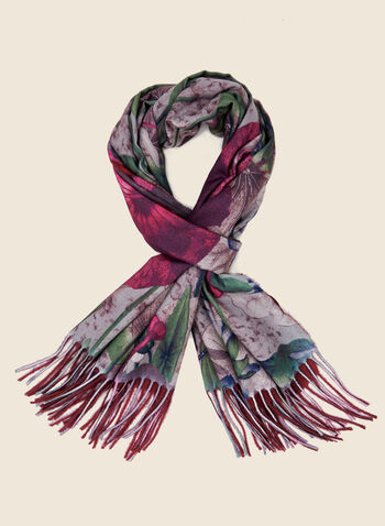 Reversible Floral Print Scarf, Red,  scarf, floral, reversible, fringe, fall winter 2020