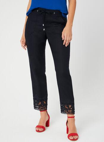 Pantalon coupe moderne en lin mélangé, Bleu,  crochet, cordons, printemps 2019, jambe large