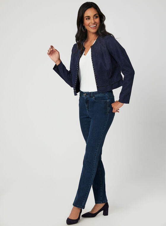 Convertible Faux Suede Jacket, Blue