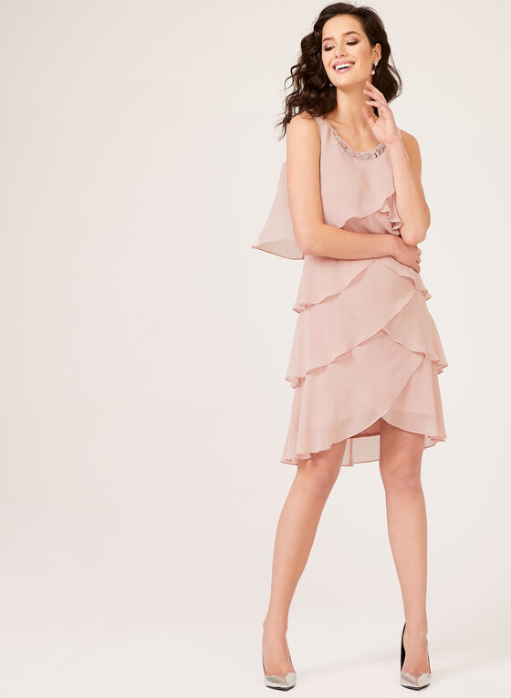 Beaded Collar Chiffon Dress, Pink, hi-res