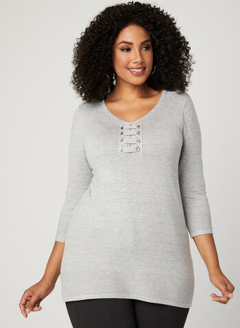 Lace-Up Ottoman Knit Sweater, Grey, hi-res