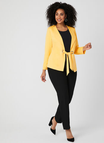 Belted Lapel Collar Blazer, Yellow, hi-res
