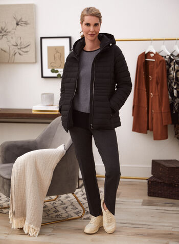 Recycled Quilted Vegan Down Coat, Black,  fall winter 2021, jacket, coat, outerwear, faux down, vegan down, fake down, quilted, stand collar, detachable hood, zip front, long sleeves, fleece, pockets, graduating waist, repreve, recycled, environment