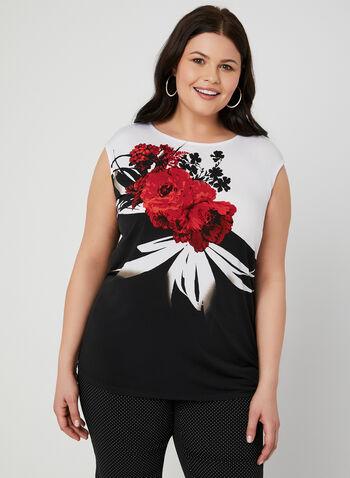Haut contrastant à imprimé floral placé, Noir, hi-res