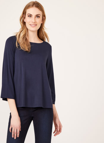 Long Sleeve Jersey Top, Blue, hi-res
