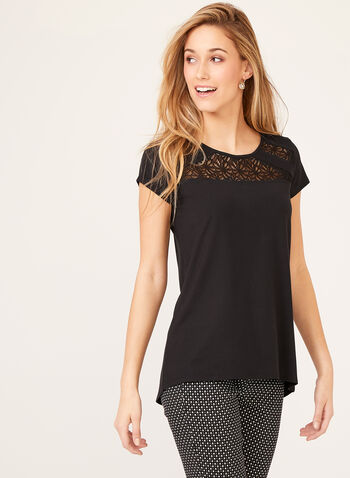 Capped Sleeve Lace Detail Top, Black, hi-res