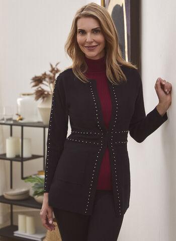 Cardigan long à billes métalliques, Noir,  automne hiver 2020, cardigan, billes, métallique, poches, tricot, manches longues