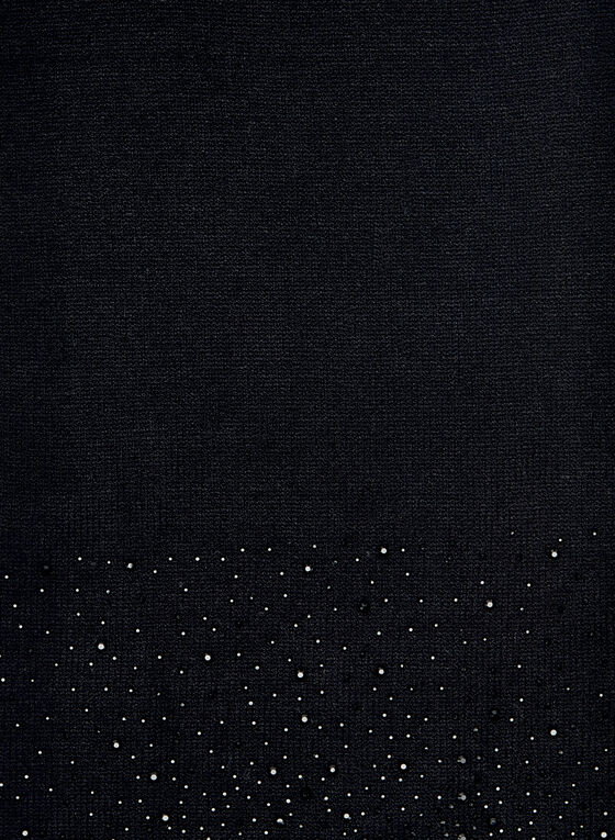 Crystal Embellished Knit Scarf, Black, hi-res