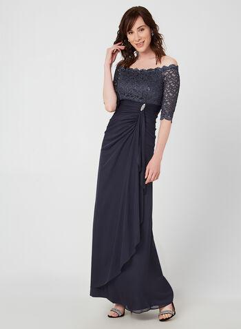 Off-the-Shoulder Dress, Grey,  lace, sequin, dress, evening, wedding, gown, strapless, off shoulder, long