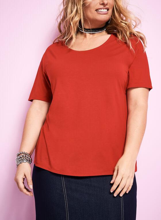 Scoop Neck T-Shirt, Red, hi-res