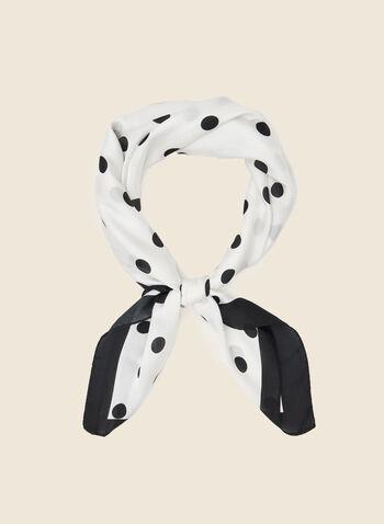 Polka Dot Print Square Scarf, Black,  scarf, square, polka dot, spring summer 2021