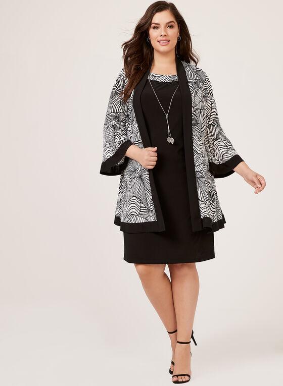 Robe en jersey sans manches et veste longue motif abstrait, Noir, hi-res