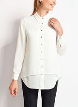 Button Down Crepe Tunic Blouse, Off White, hi-res