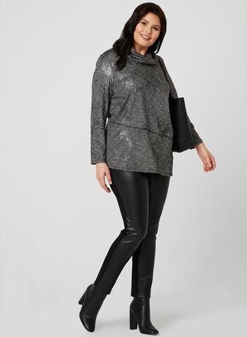 Cowl Neck Knit Top, Grey, hi-res