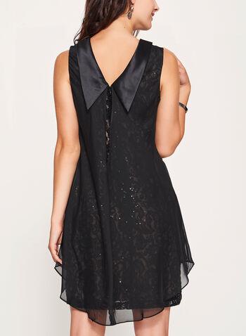 Reverse Collar Lace & Chiffon Trapeze Dress, Black, hi-res