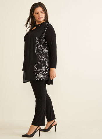 Floral Print Open Front Top, Black,  Canada, top, open front, floral, long sleeves, fall 2019, winter 2019