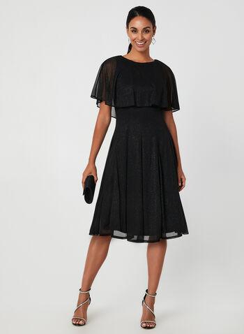 Glitter Mesh Dress With Caplet, Black, hi-res,  glitter mesh, caplet, sleeveless, fit and flare, fall 2019, winter 2019
