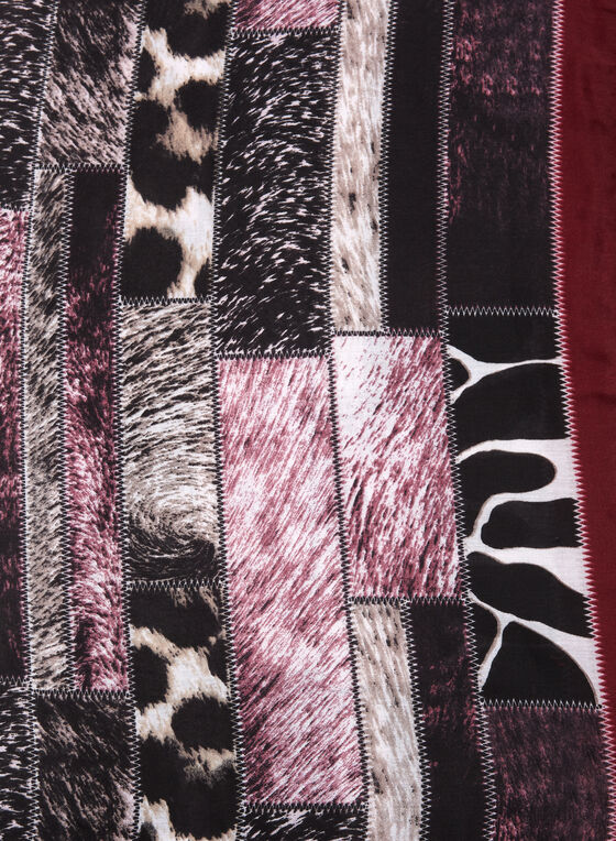 Animal Print Oblong Scarf, Red, hi-res