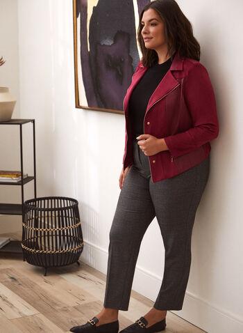 Tartan Print Modern Fit Pants, Red,  pants, straight, tartan, stretchy, fall winter 2020