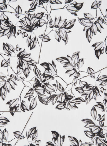 Foulard léger motif feuilles, Rouge, hi-res,  foulard, léger, feuilles, franges, automne hiver 2019