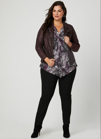 Floral Print V-Neck Top, Purple, hi-res