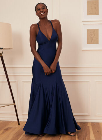 Satin Mermaid Dress, Blue,  prom dress, sleeveless, mermaid, satin, v-neck, lace-up, open back, crinoline, spring summer 2021