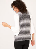 Striped Faux Wool Cardigan, Black, hi-res
