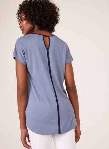 Stripe Print T-Shirt With Floral Appliqué, Blue, hi-res