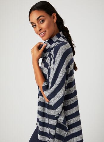 Poncho douceur en tricot rayé, Bleu, hi-res