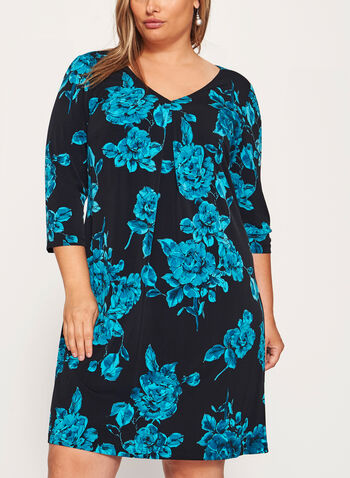 Rose Print Pleated Detail Dress, , hi-res