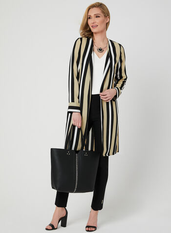 Stripe Print Open Front Duster, Black, hi-res